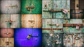 Locked doors with padlocks collage. Closed old rusty padlocks on weathered wooden doors. Closeup view Stock Photography