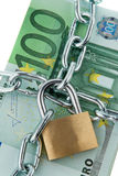Locked European Currency. European currency with chain and lock. Vertically framed shot Stock Photos