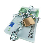 Locked European Currency. European currency with chain and lock. Square format Stock Photography