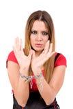 Locked fêmea pela corrente do metal com countenance da dor imagem de stock royalty free