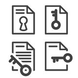 Locked file simple icon with key - secured document Stock Photos