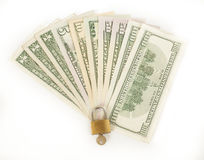 Locked finances concept currency Stock Photo
