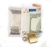 Locked finances concept currency Royalty Free Stock Photo