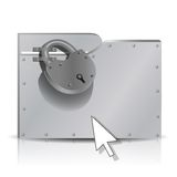 Locked folder. Security concept: locked  metal folder.  Used mesh, gradient, transparency Stock Photo