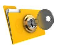 Locked folder. 3d illustration of yellow folder locked with key,isolated over white Stock Photo
