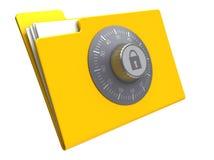 Locked folder. 3d illustration of folder with combination lock, isolated over white background Stock Photos