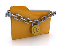 Locked folder. Folder protected with chain and padlock on the white background (3d render&#x29 Stock Photos