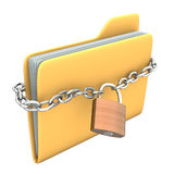 Locked Folder. Yellow pc folder with chain and padlock on the white background Stock Images