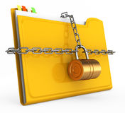 Locked folder. On white background. document protection concept. 3d rendered image Stock Images