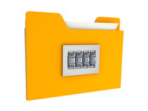 Locked folder and number lock.information security. Locked folder with number lock.information security 3d Royalty Free Stock Image