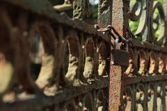 Locked gate. Abandon area with locked gate and no freedom Stock Photos