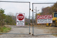 Free Locked Gate And Signs Royalty Free Stock Photography - 30303057