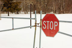Locked gate with a stop sign Royalty Free Stock Photos