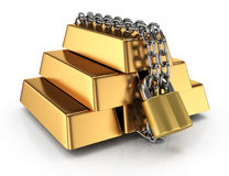 Locked gold  bullions Royalty Free Stock Image