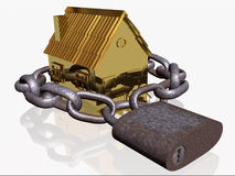 Locked gold home Stock Image
