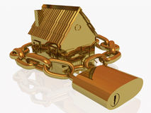 Locked gold home Royalty Free Stock Images