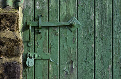 Locked Green Barn Door Stock Images