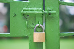Locked Green Gate. A padlock over a green painted gate Stock Photography