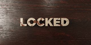 Locked - grungy wooden headline on Maple  - 3D rendered royalty free stock image Royalty Free Stock Image