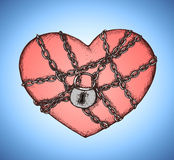 Locked heart with chains emblem Royalty Free Stock Image