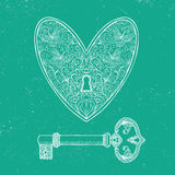 Locked heart and key on emerald green background Royalty Free Stock Image
