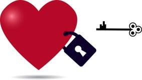 Locked heart with key Royalty Free Stock Photo