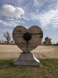 Locked Heart under the clouds stock image