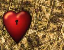 Locked heart and US currency background Stock Photos