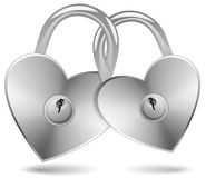 Locked Hearts Royalty Free Stock Photography