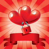 Locked hearts. Two hearts connected by a padlock, with a red stripe and rays in the background stock illustration