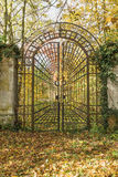 Locked Iron Gate In The Autumn Park. Vertically. Stock Photography