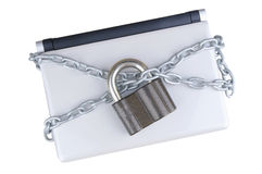 Locked laptop with chains , Royalty Free Stock Images