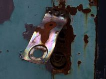 Locked. Lock on a disused laundry unit on an old camp or caravan Royalty Free Stock Photos