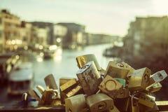 Locked love in Venice Stock Photo
