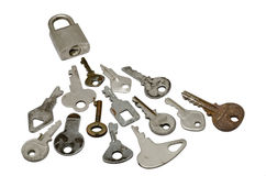 Locked with many wrong Keys. A Locked with many wrong Keys. over white background Stock Images