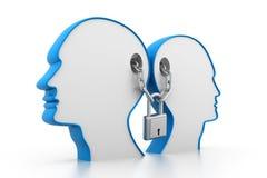 Locked mind. 3d illustration of Locked mind Stock Image