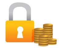 Locked money illustration concept design Stock Image