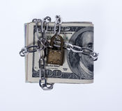 Locked Money in White Background Stock Photos