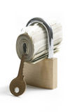 Locked Money With Key Nearby Royalty Free Stock Image