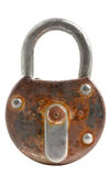 Locked old padlock isolated Stock Photography