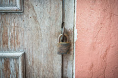 Locked the old wood door Royalty Free Stock Image