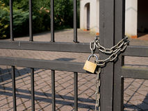 Locked out - house with padlock, chain Royalty Free Stock Photos