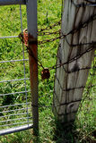 Locked Out No Trespassing. Farm field gate chained and padlocked Stock Photos