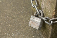 Locked padlock and chain Royalty Free Stock Photo