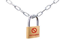 Locked padlock and chain with sign Access Denied royalty free stock images