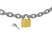 Locked padlock on the chrome-plated chain and key Stock Photos