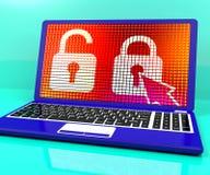 Locked Padlock On Laptop Royalty Free Stock Photos