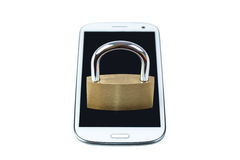 Locked padlock on a mobile phone Royalty Free Stock Photo