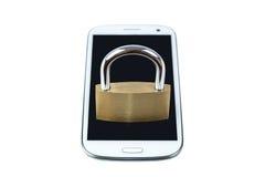 Locked padlock on a mobile phone Royalty Free Stock Photo