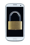 Locked padlock on a mobile phone, viewed from above Stock Photos